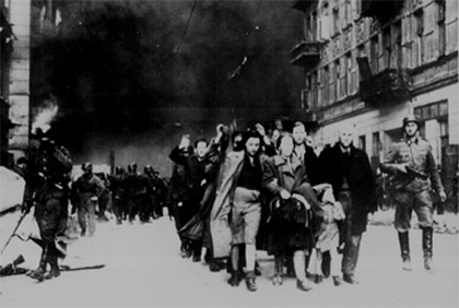 Jewish civilians during the destruction of the Warsaw Ghetto, 1943.